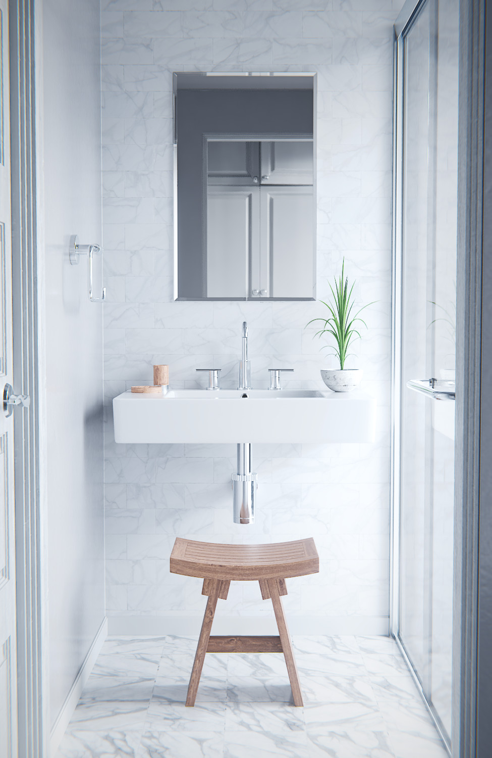 A clean, white bathroom, but still enough character to be interesting.Created by  Michał Demps using the new Marble materials. Made with Blender.