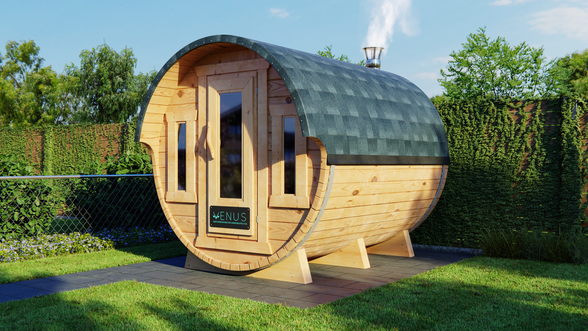 Nice visualization of a wooden sauna! By  Tobias Schmid .
