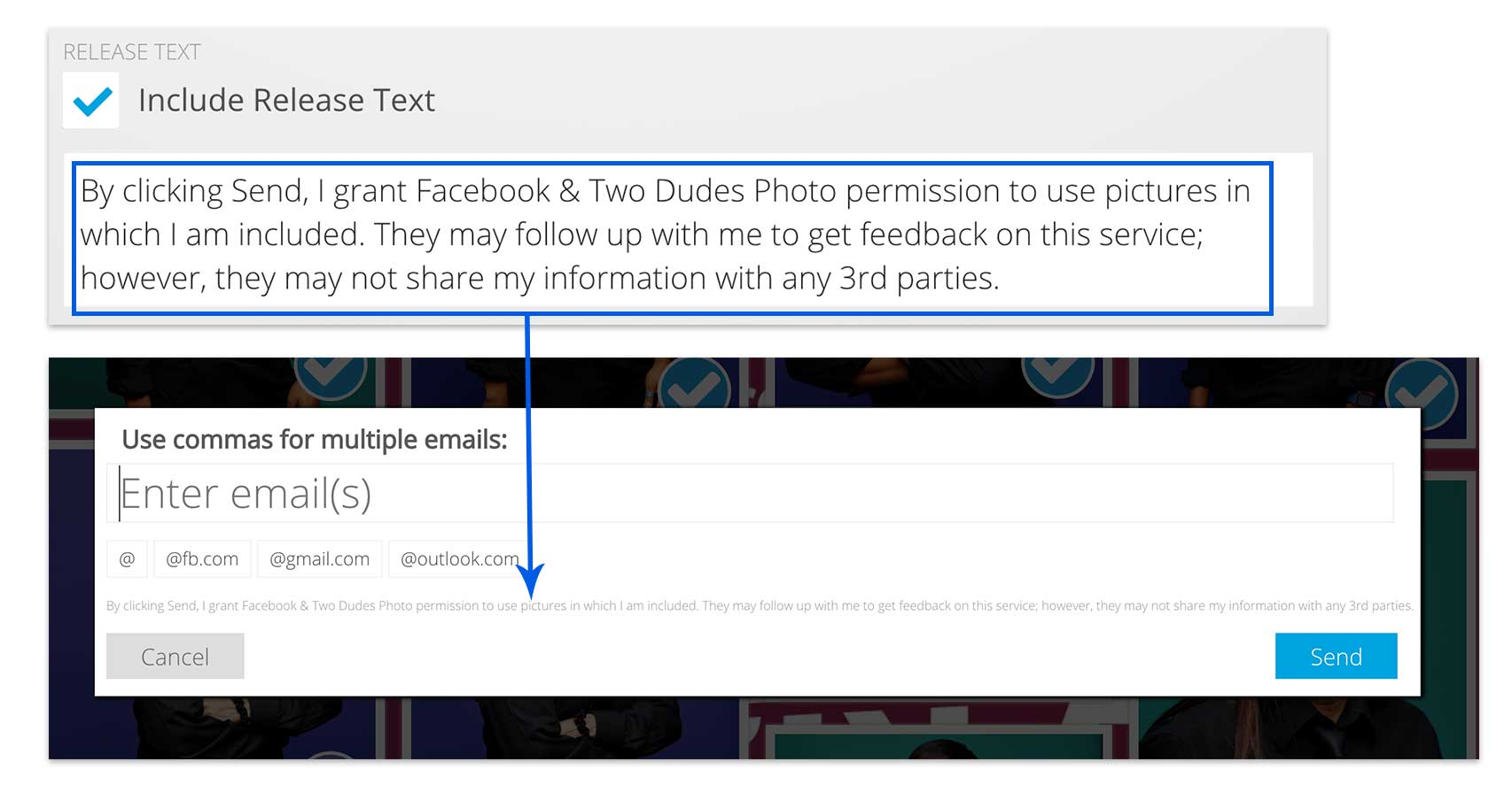 Custom release text for event photo sharing software