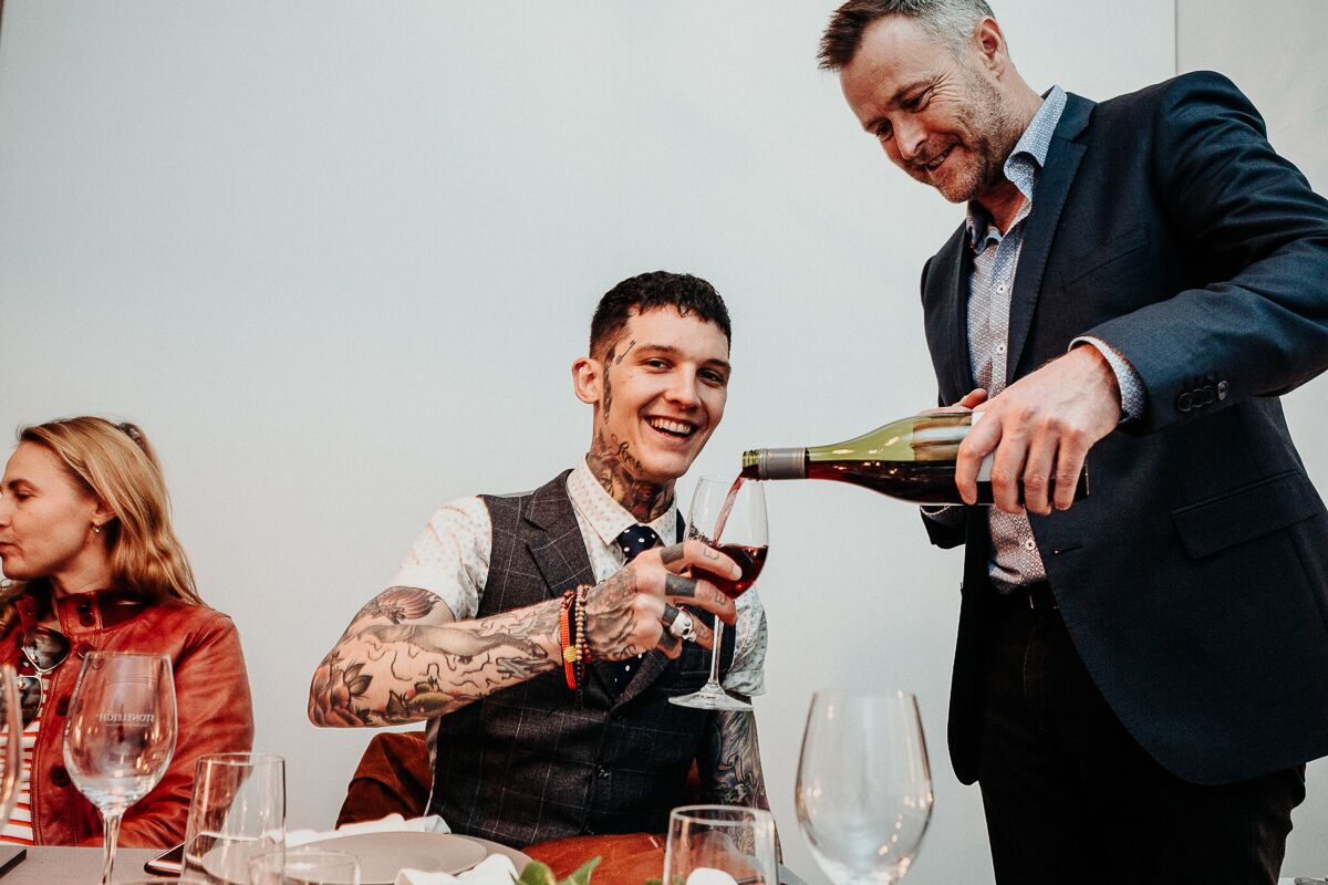 Getting a glass poured by the master wine maker Jamie Marfell