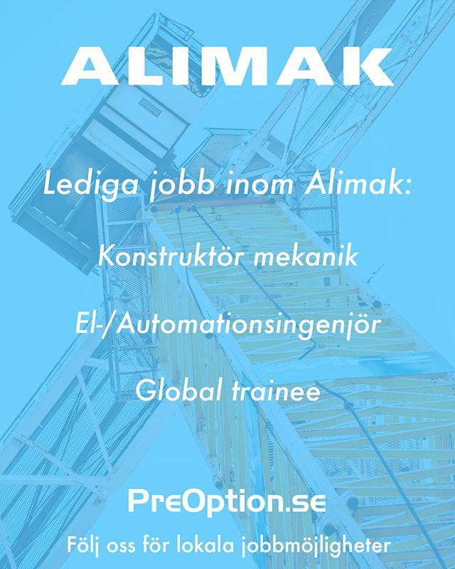 Alimak har över 400 anställda och söker alltid efter nya medarbetare. In och sök på PreOption.se idag!