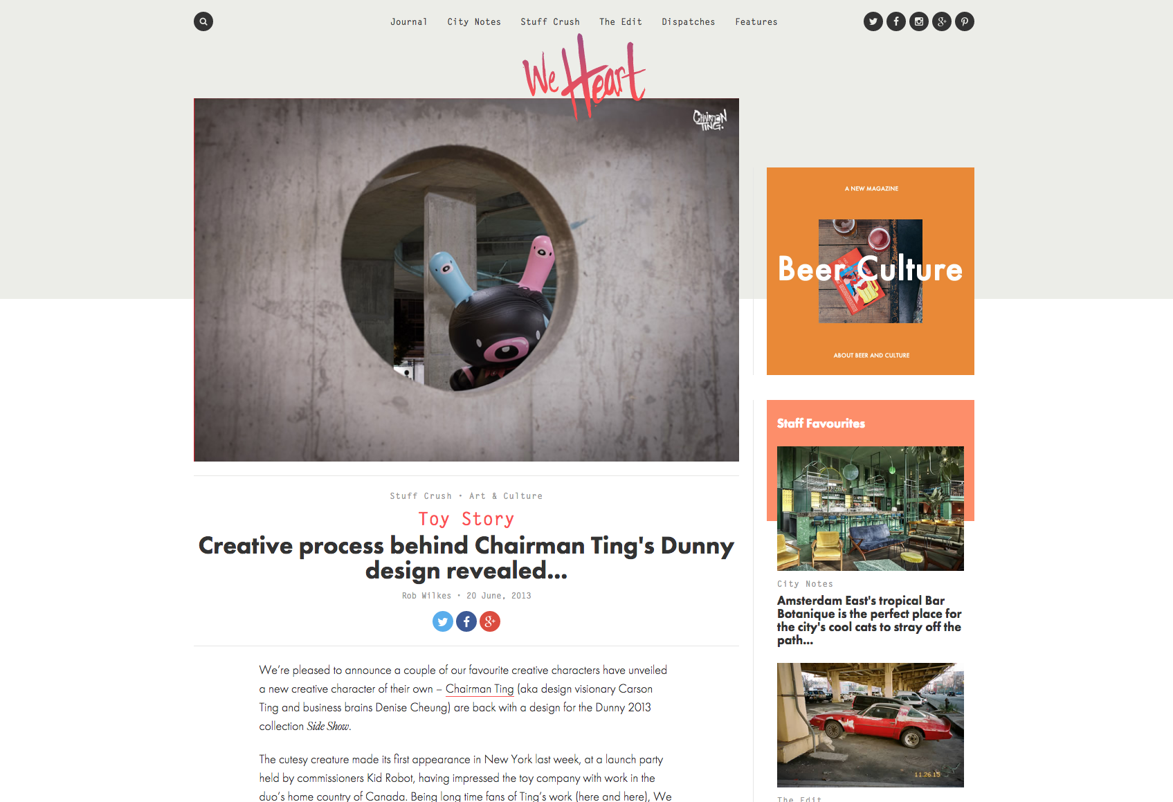 We Heart - Creative process behind Chairman Ting's Dunny design revealed.Click here to read article