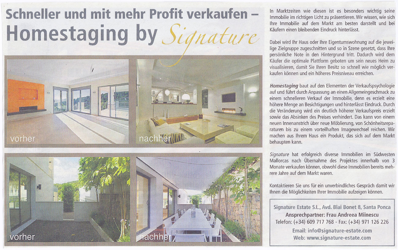 Today in the Mallorca Magazin - Sell faster and with more profit - HOMESTAGING by Signature