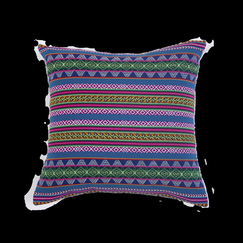 Coussin ethnique Adjamée -  Modèle Cuzco Turquoise