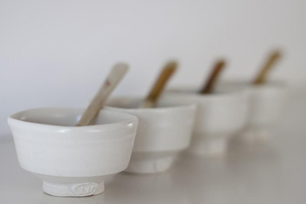 White sake cups