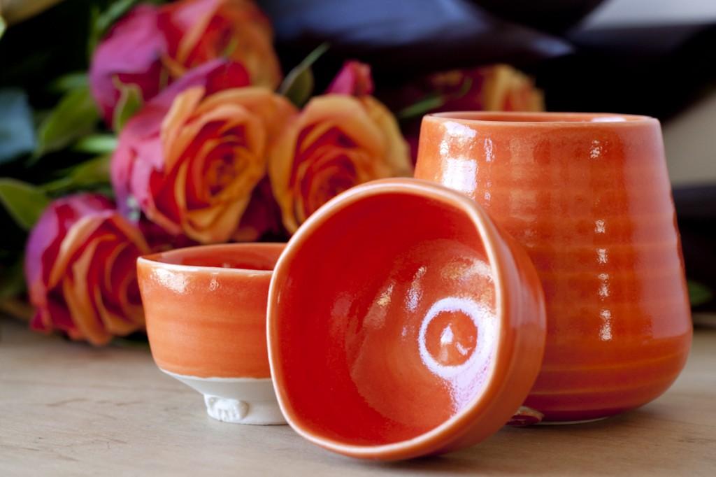 Orange sake cups