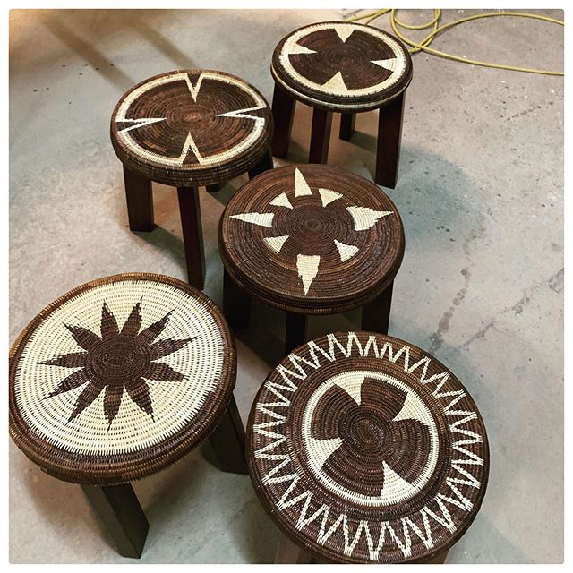 New arrivals! Check out our new stock of #IALIBU stools. Each one is unique and #handmade by our Kirane weavers from the Southern Highlands #PNG designed by @darcy_clarke_official . It's a great example of the work @realsocialimpact is doing