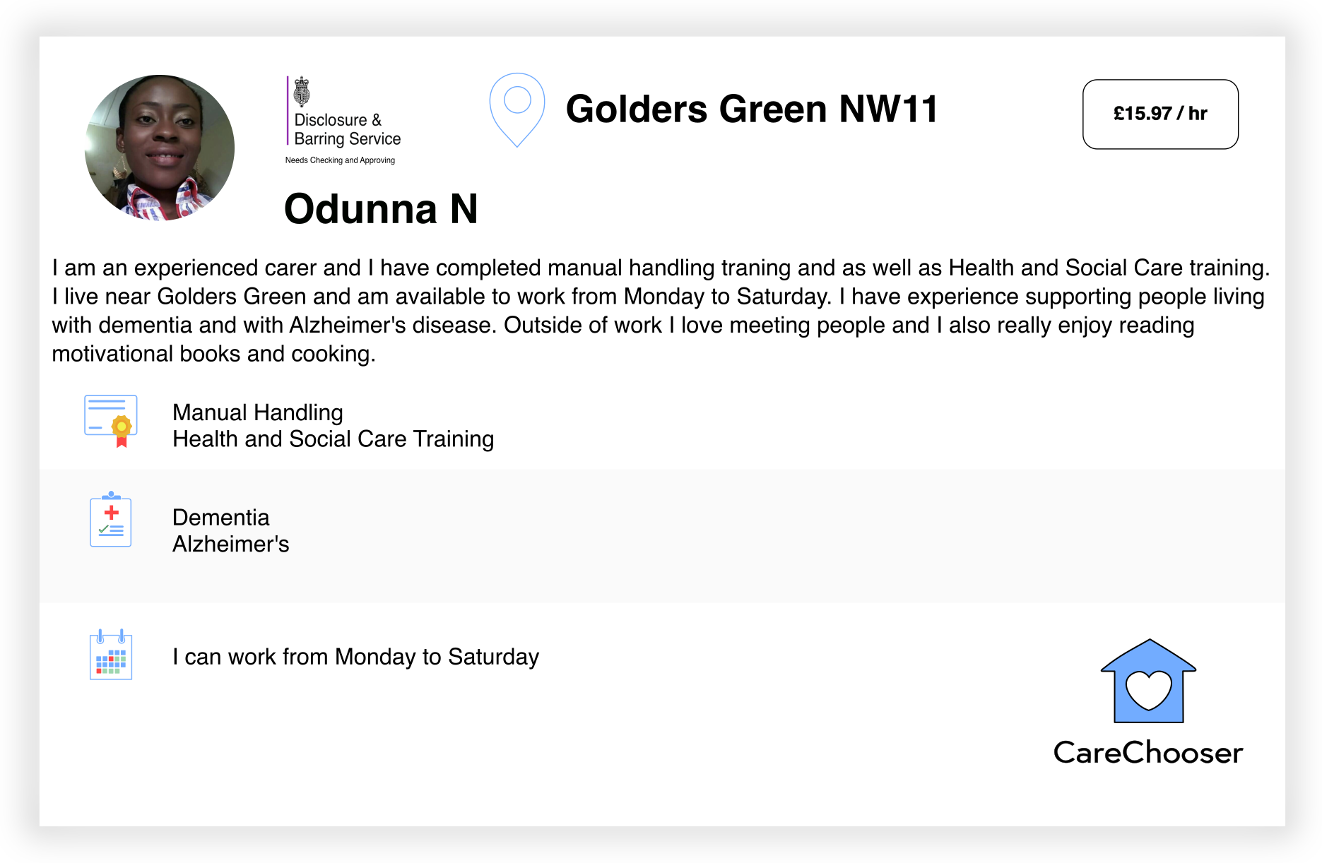 Odunna - Home Care - Golders Green
