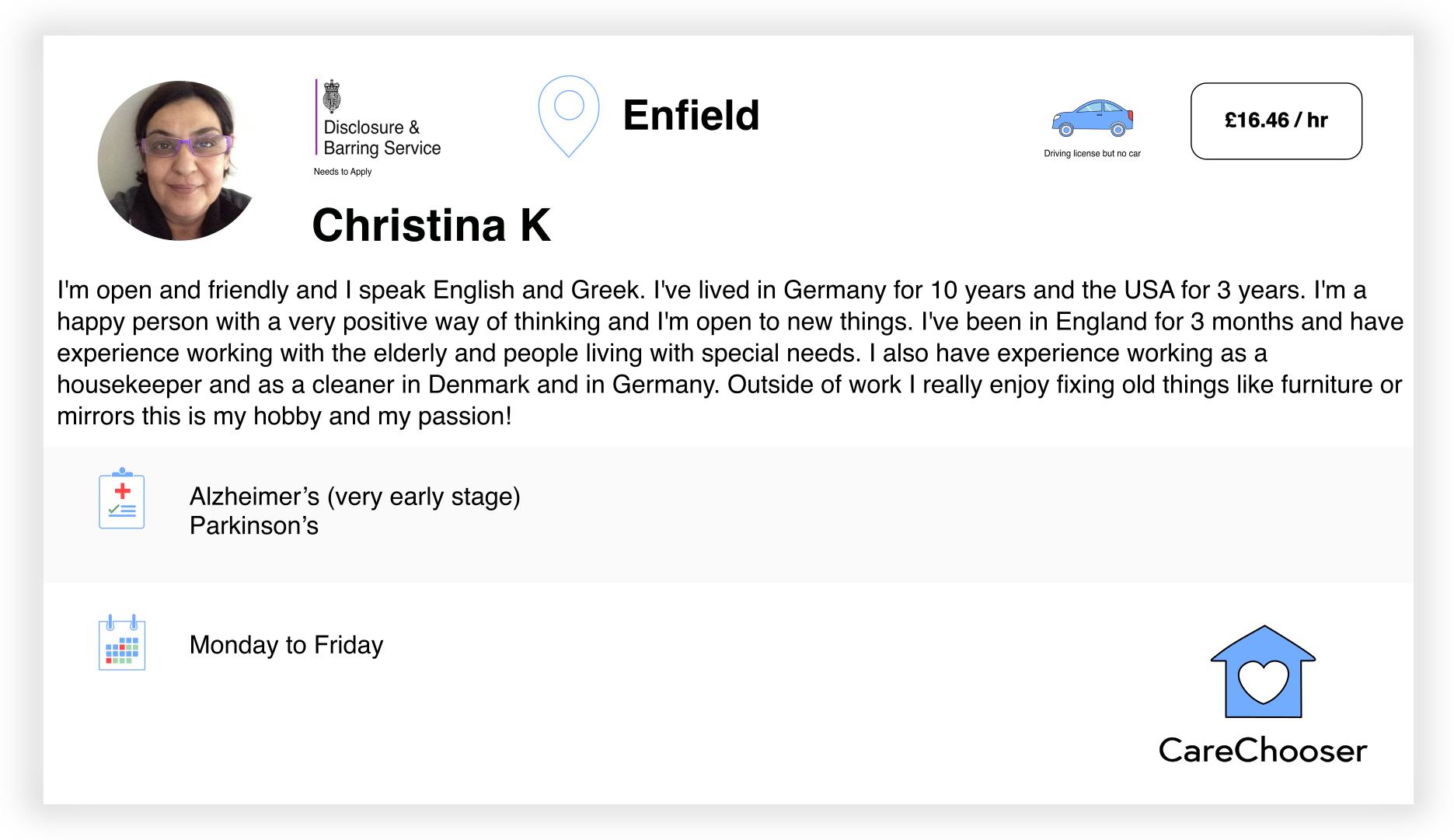 Christina - Home Care - Enfield