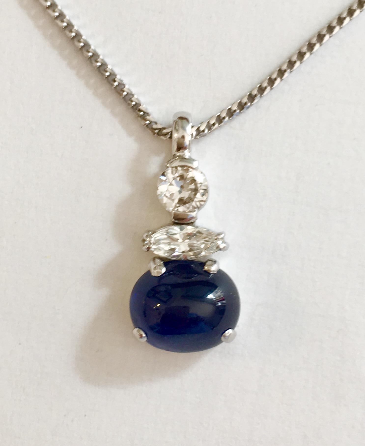 Collier or gris,saphir brillant et navette diamant  COLLIER OR GRIS SAPHIR BRILLANT ET NAVETTE DIAMANT