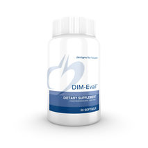 """DIM-Evail™ 60 Softgels     DIM – Di-indolyl-methane, helps to restore the """"good"""" estrogen and keep the """"bad"""" estrogen at bay, anti-oxidant, anti-cancer, helps to reduce the symptoms of HPV - Human papillomavirus (this virus can cause cervical and lung cancer) and inhibits it's growth, anti-inflammatory, and reduces acne"""
