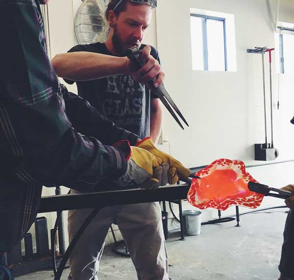 Red Flower Studios - glass blowing workers