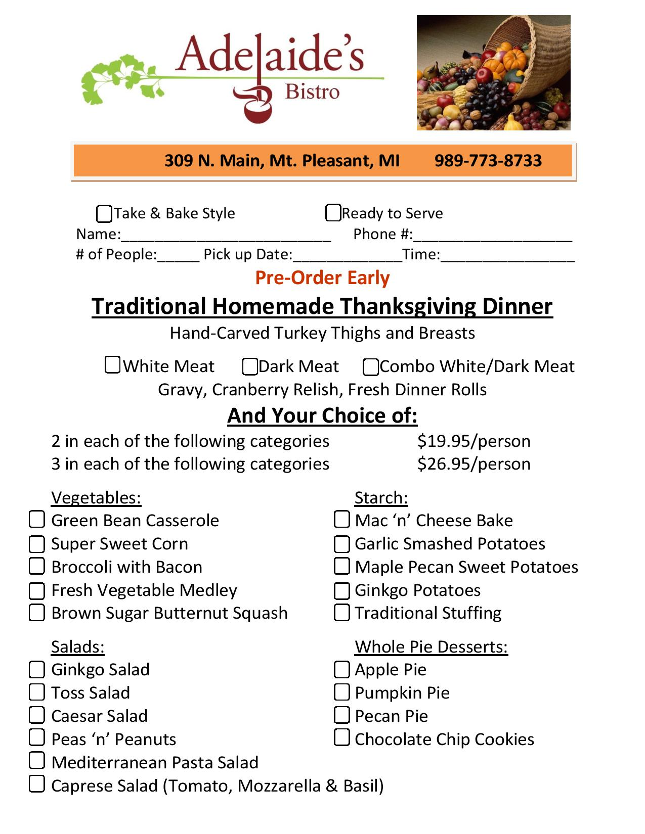 Thanksgiving pre-order form, no stress, no mess, just set the table and we'll prepare your feast!