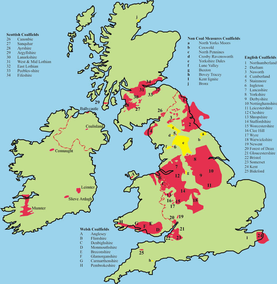 Coal fields in Britain. From  the Northern Mine Research Society . That's a LOT of coal!