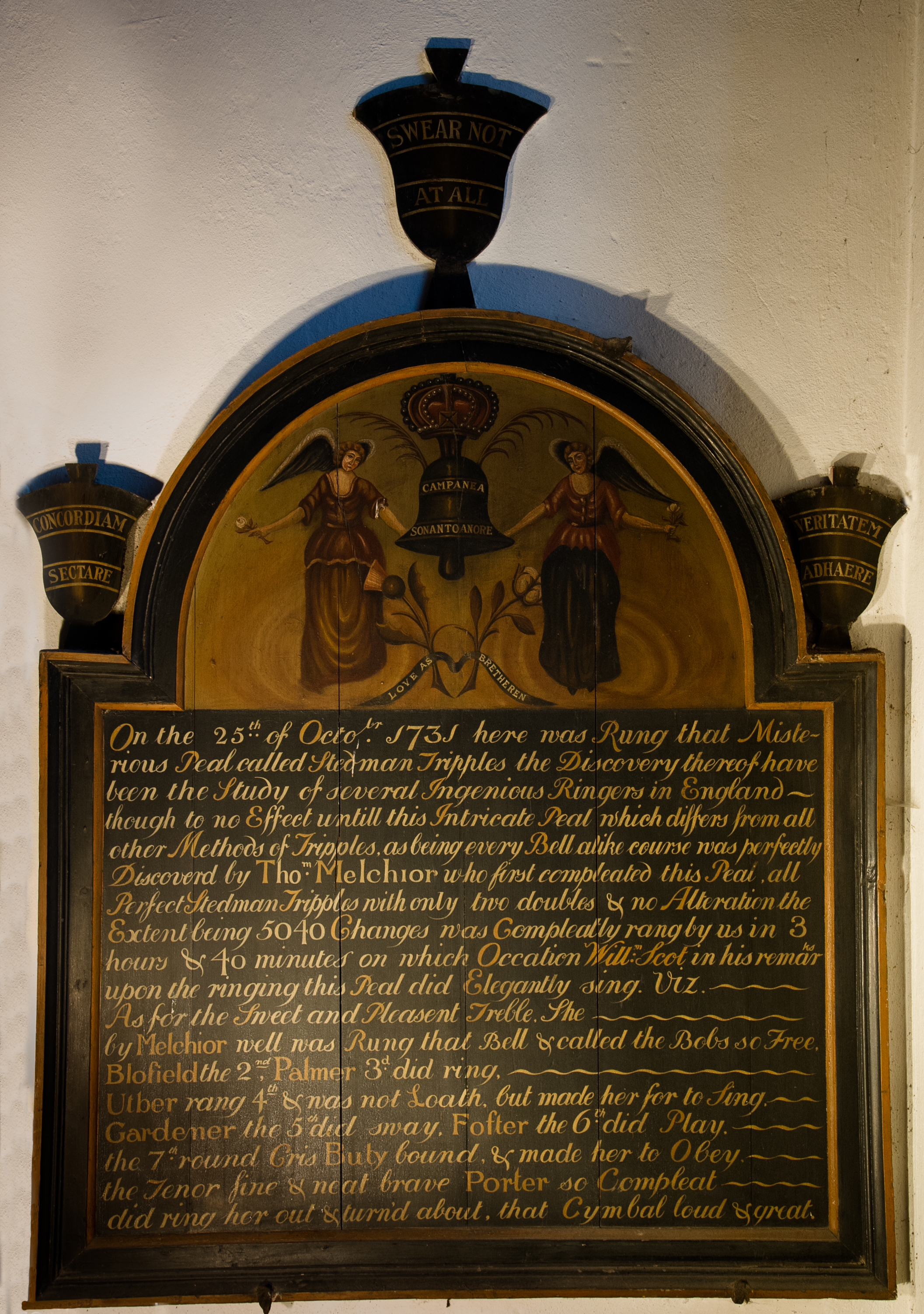 Peal Board celebrating a peal from 1731