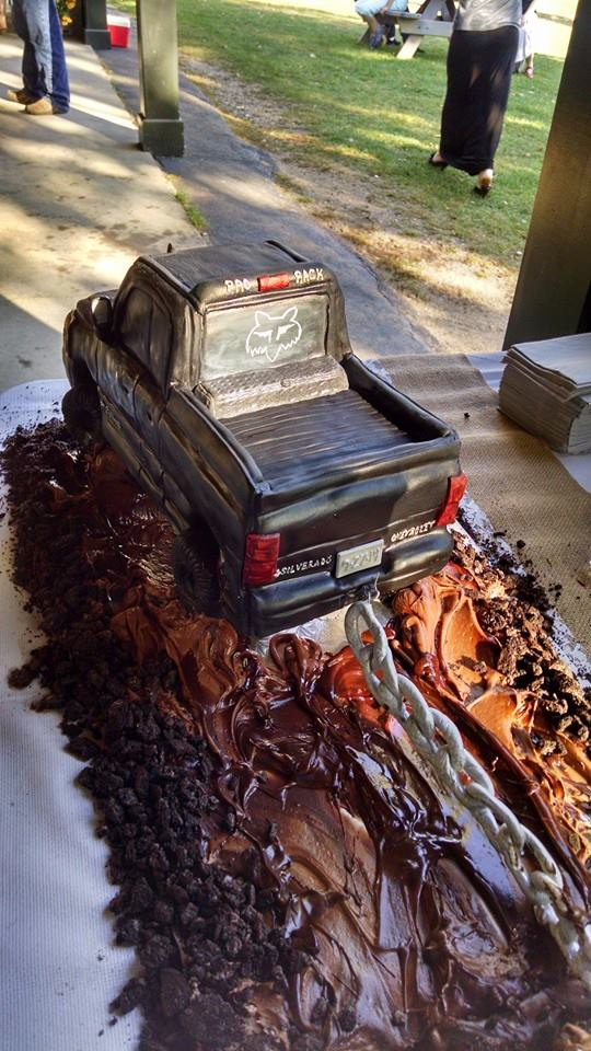 Sculpted Truck Grooms Cake Pulling Wedding Cake
