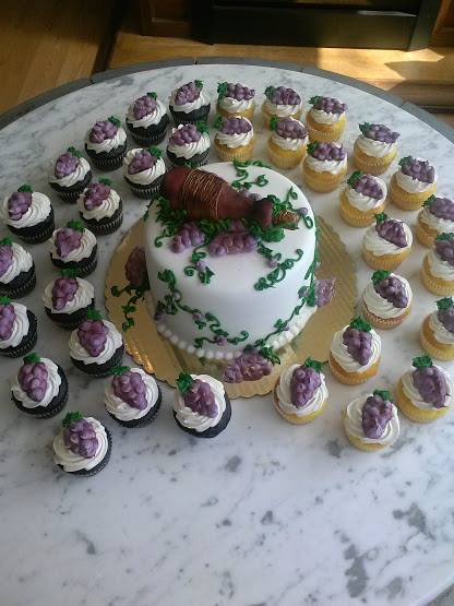 Wine Themed Bridal Shower Cake and Cupcakes