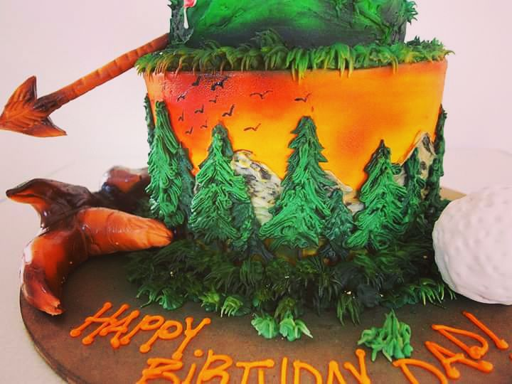 Hunting and Golf Themed Cake