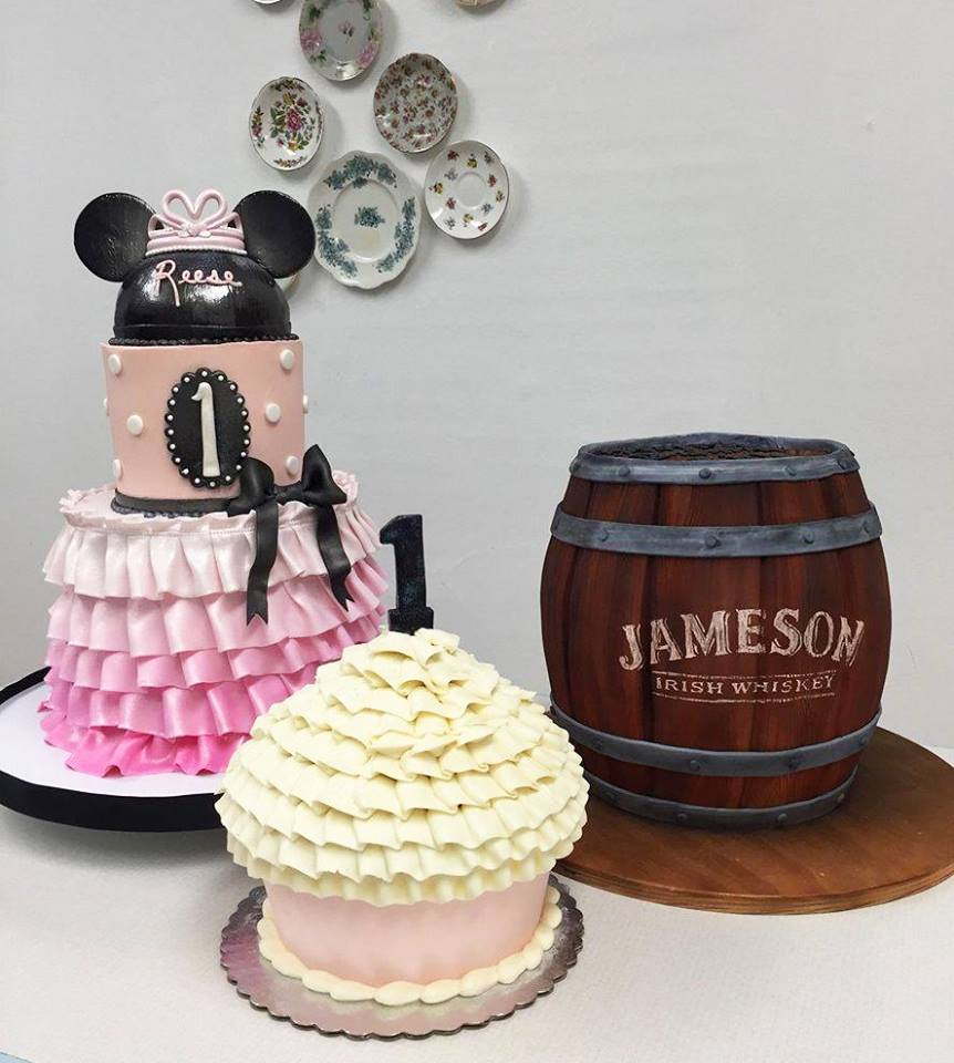 Minnie Mouse and Jameson Barrel