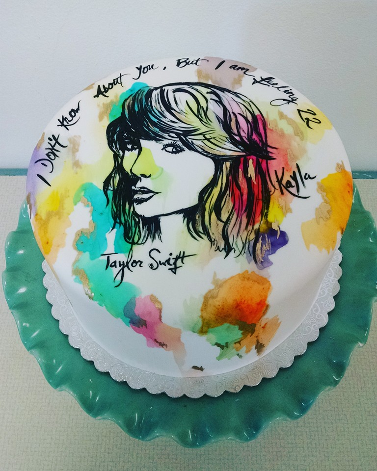 Handpainted Taylor Swift Watercolor cake
