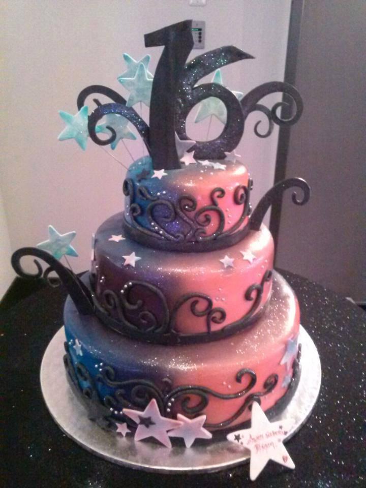 Funky Airbrushed Sweet 16 Cake