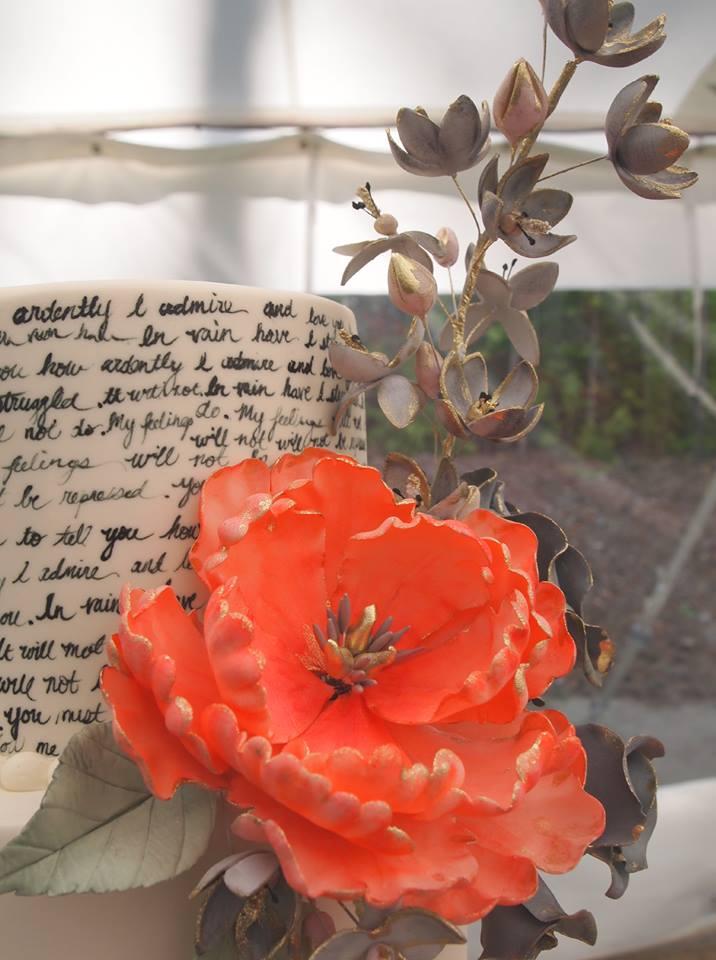 Handpainted Pride and Prejudice Quotes Wedding Cake
