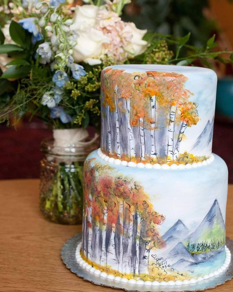 Fall Birch Trees Wedding Cake