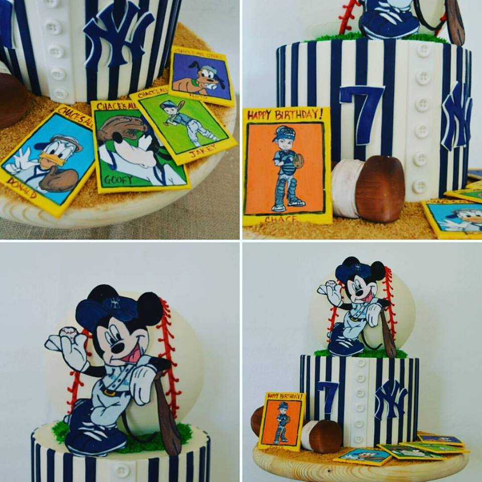 Baseball Themed Mickey Mouse Cake