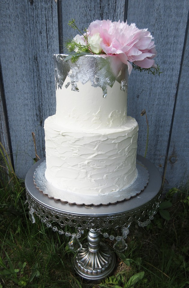 Silver Leaf Messy Buttercream Textured Cake
