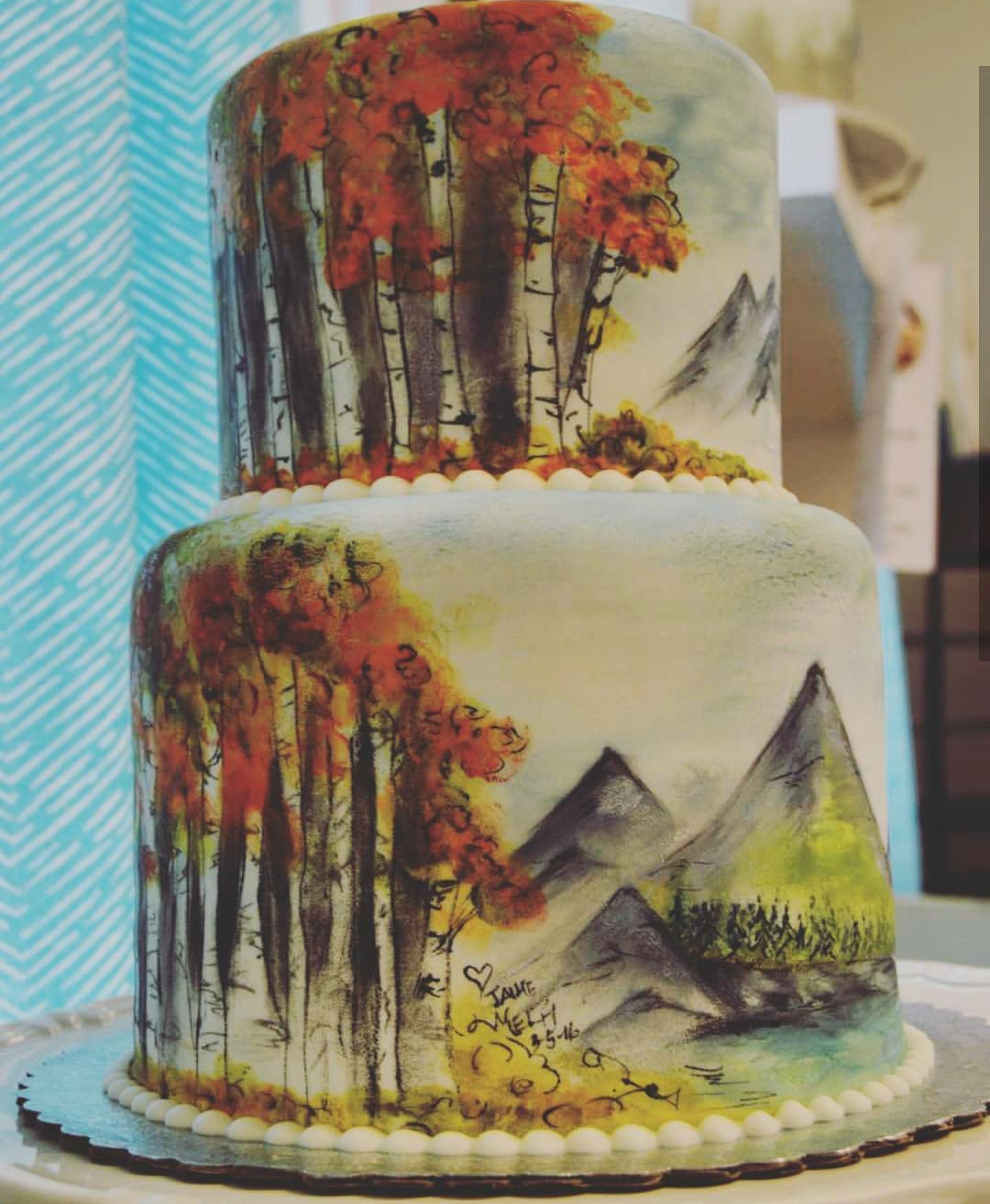 Watercolor Fall Mountain Scene