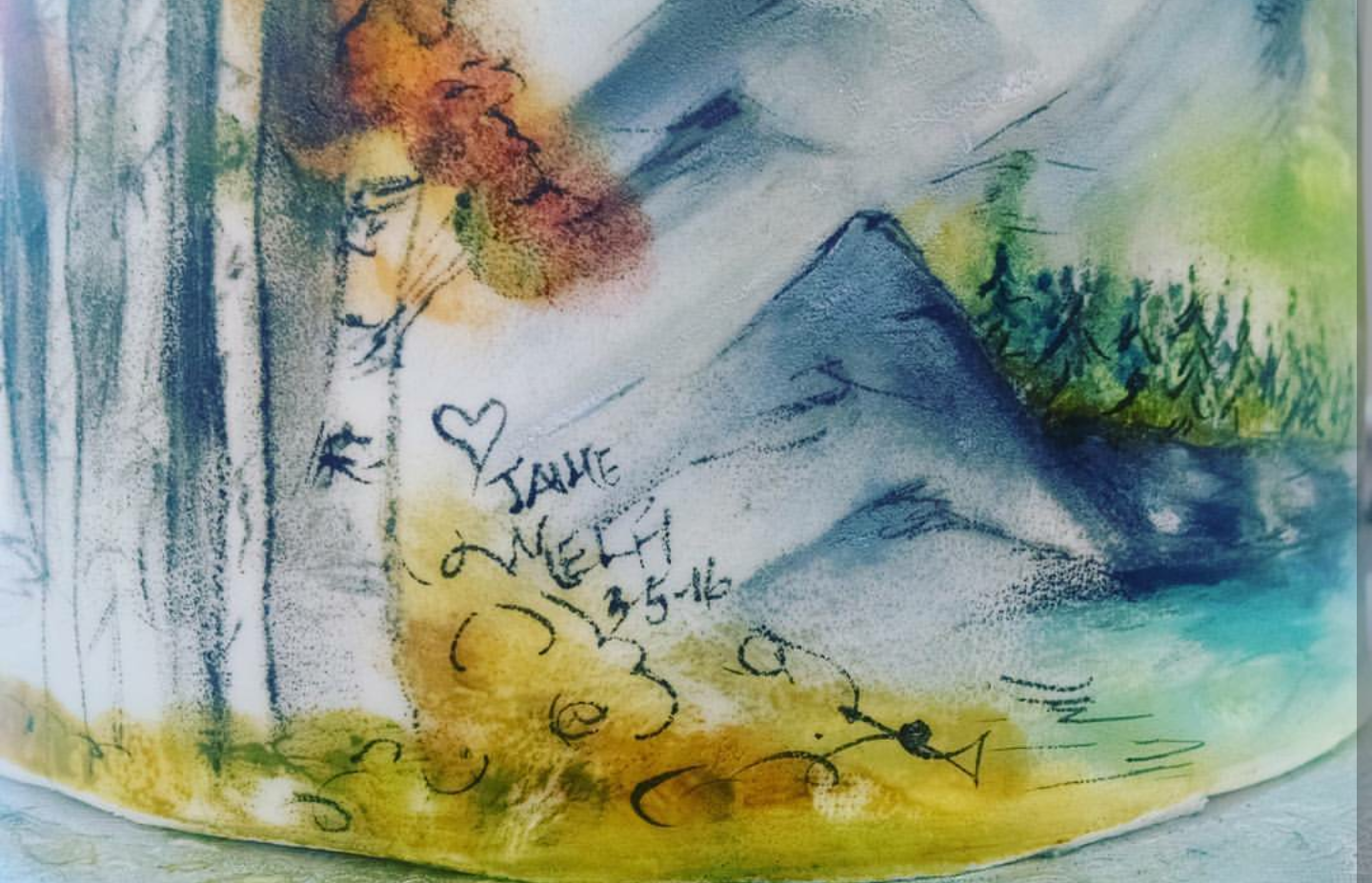 Watercolored Fall Mountain Scene