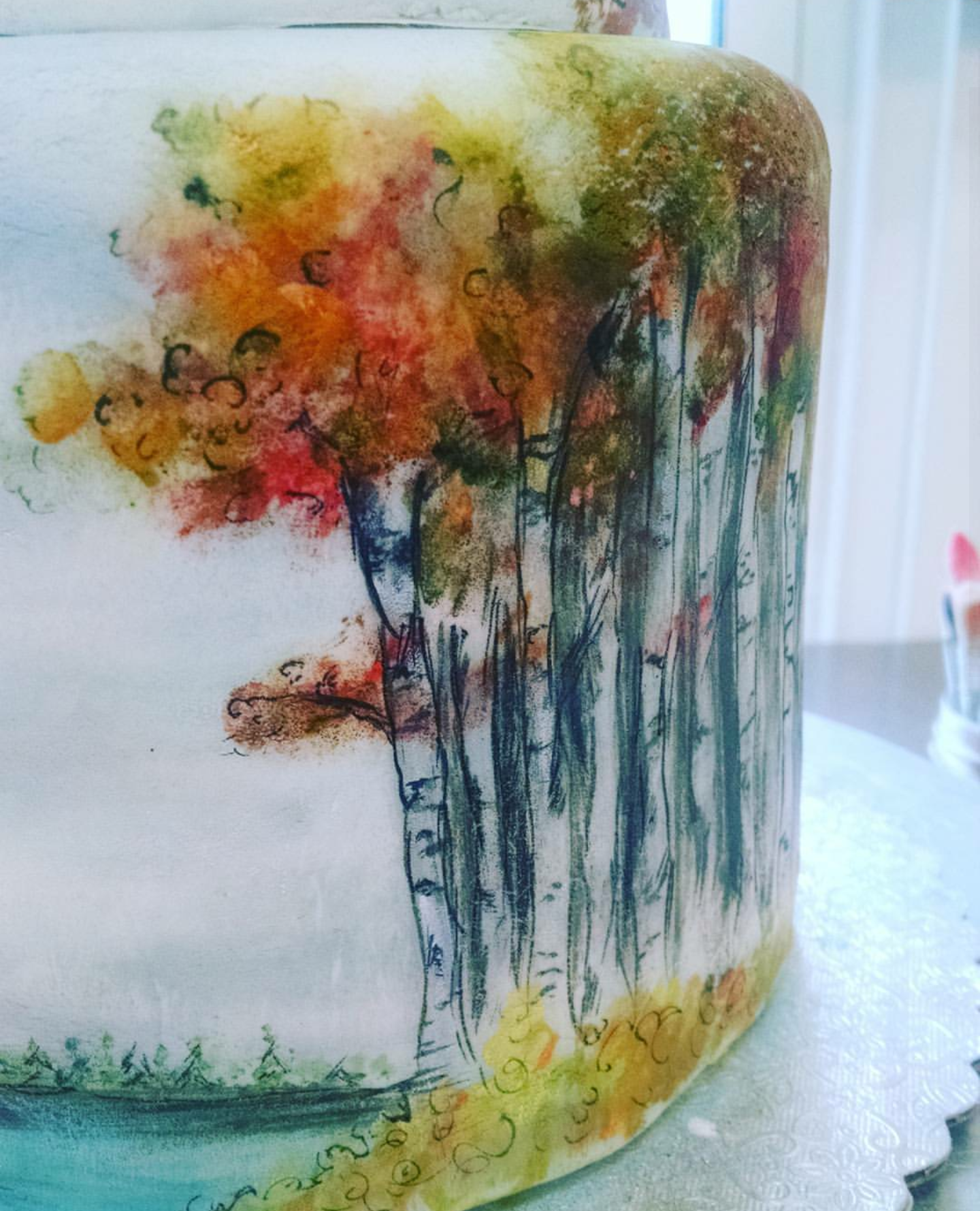 Watercolor Fall Birches
