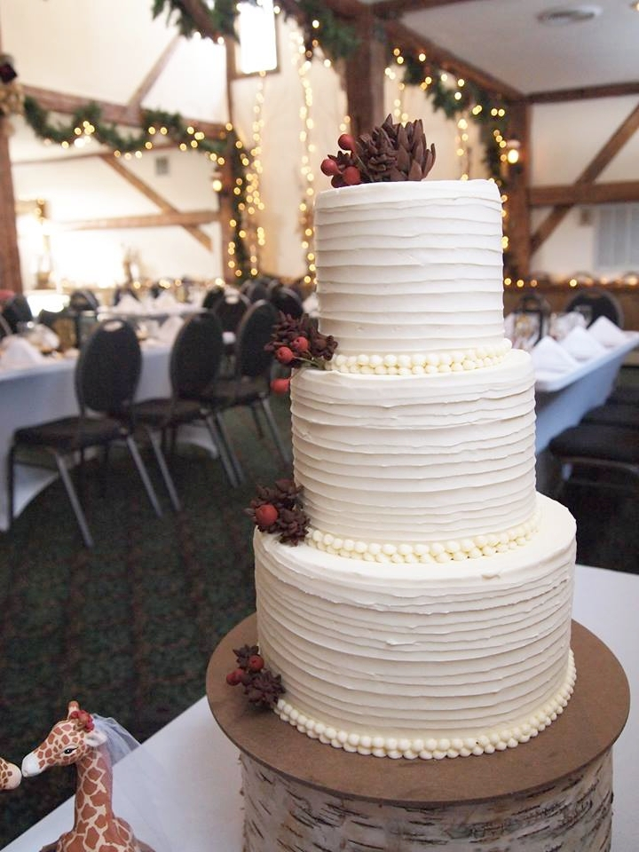 Messy Buttercream with Pine Cone and Cranberry Accents