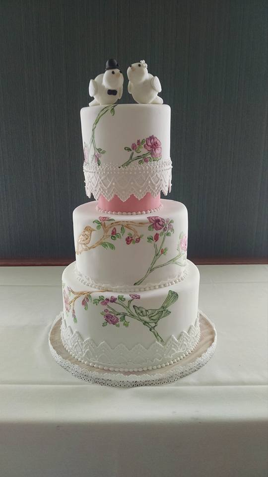 Handpainted Love Birds Wedding Cake