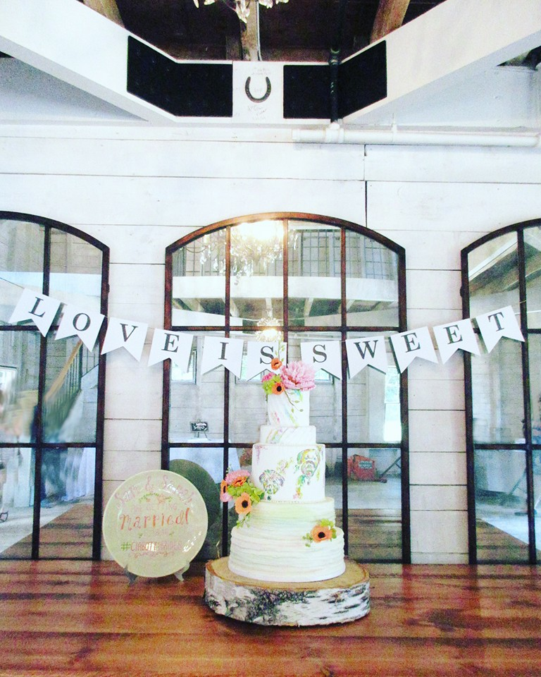Watercolor Handpainted Wedding Cake