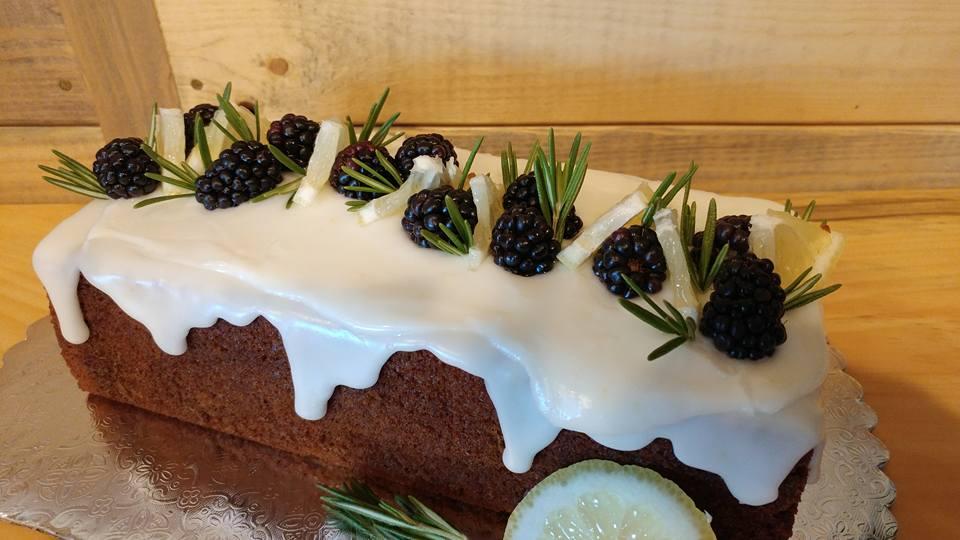 Italian Spiced Honey Cake with Lemon Glaze and Fresh Blackberries