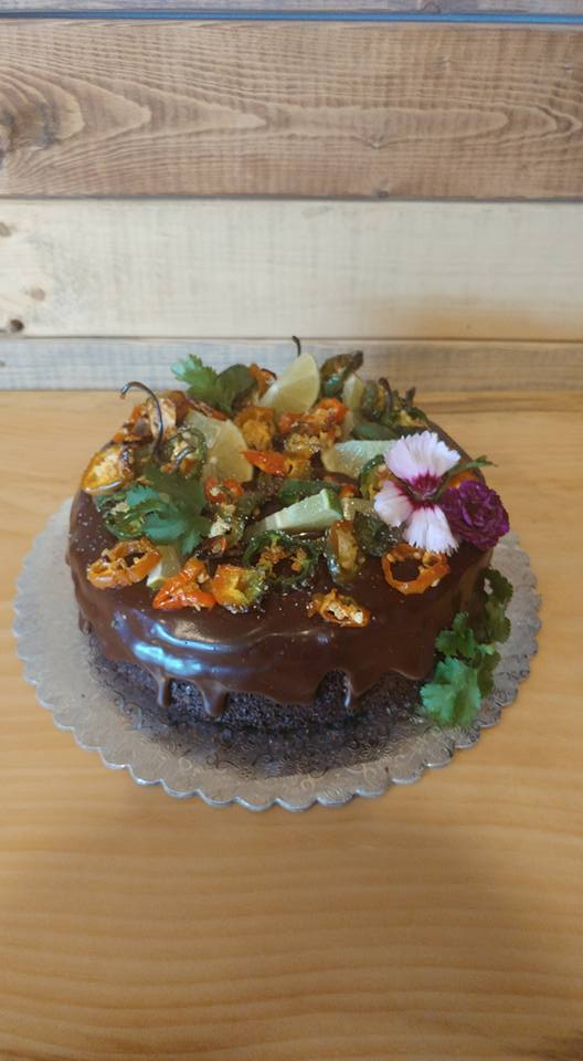 Spicy! Mexican Hot Chocolate Cake with Tequila Roasted Jalapeños, Chocolate Lime Cake and Chocolate Ganache