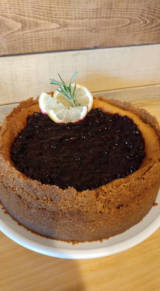 Italian Mascarpone Cheesecake with Thick Crust and Wild Maine Blueberry Sauce
