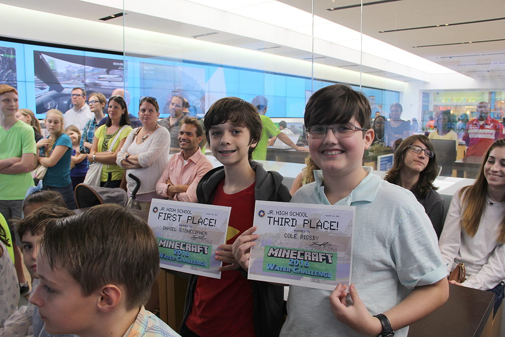 Posing for a picture during the Minecraft Water Challenge Winner Announcement on August 28, 2016, at the Microsoft Store in The Woodlands Mall, the Jr. High group's first-place winner Daniel Stonecipher, left, and 3rd-place winner, Cole Rigsby, pose for a picture. Rigsby, who encouraged his friend Stoneciper to enter the contest, said there's no love lost between the two McCullough Jr. High School classmates.