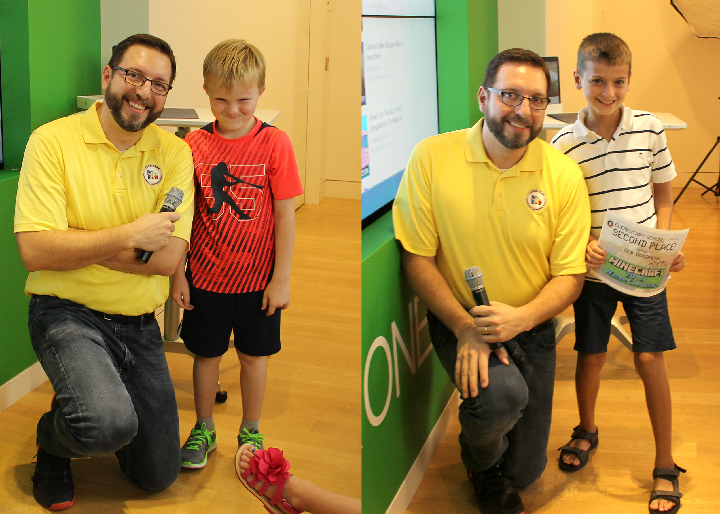 LSGCD's 2016 Minecraft Water Challenge winners—Elementary Group: James Ridgway, Jr., LSGCD education/public awareness coordinator, wearing the yellow shirt, poses with, pictured left, 3rd-place winner, Christopher Holmes, Kaufman Elementary, and pictured right, 2nd-place winner, Seb Woodhead, David Elementary. Not pictured is 1st-place winner, Zander Staines, home school.