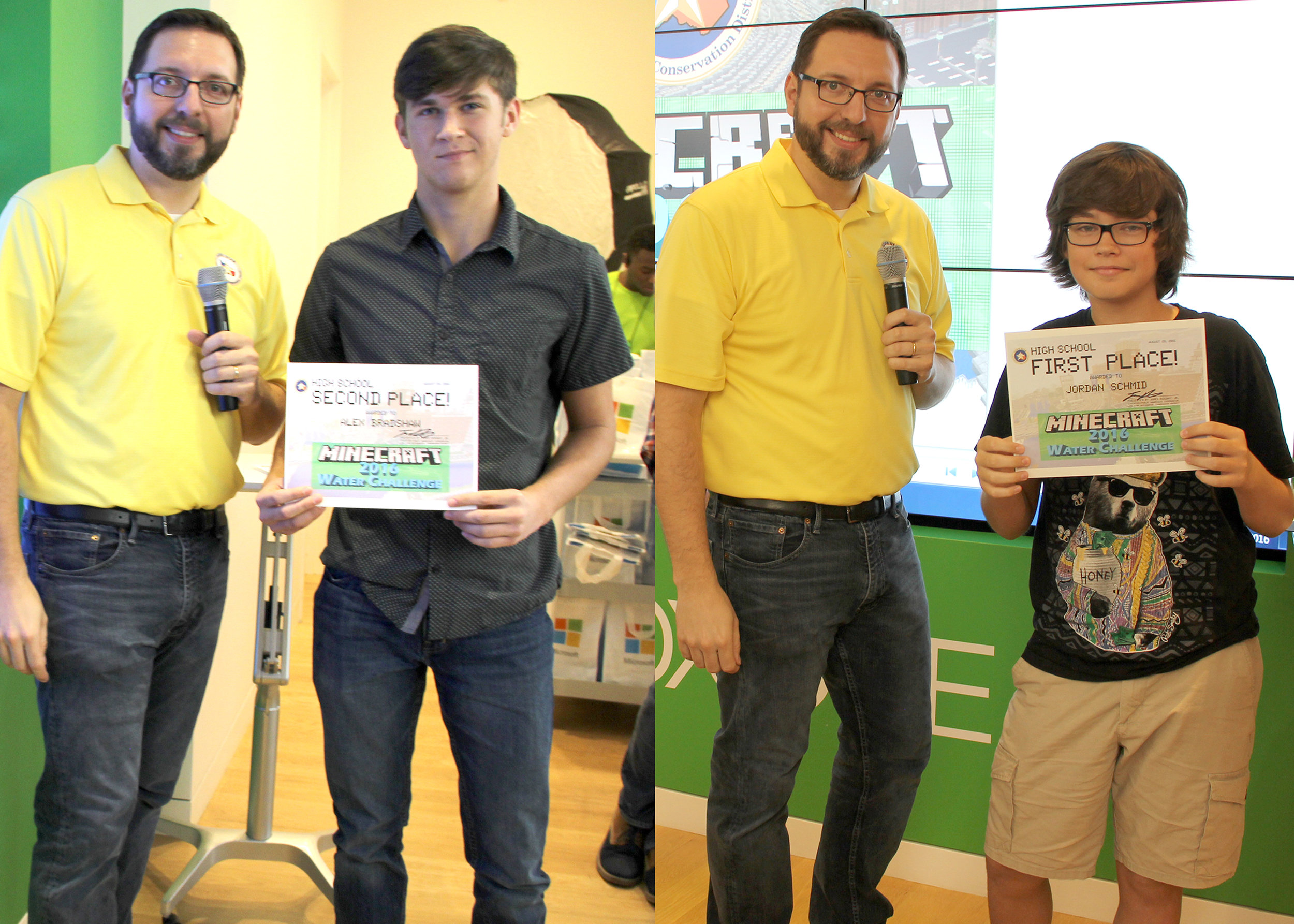 LSGCD's 2016 Minecraft Water Challenge winners—High School Group: James Ridgway, Jr., LSGCD education/public awareness coordinator, wearing the yellow shirt, poses with, pictured left, 2nd-place winner, Alex Bradshaw, Splendora High School, and pictured right, 1st-place winner, Jordan Schmid, Montgomery High School. Not pictured is 3rd-place winner, Houston Bailey, Magnolia High School.