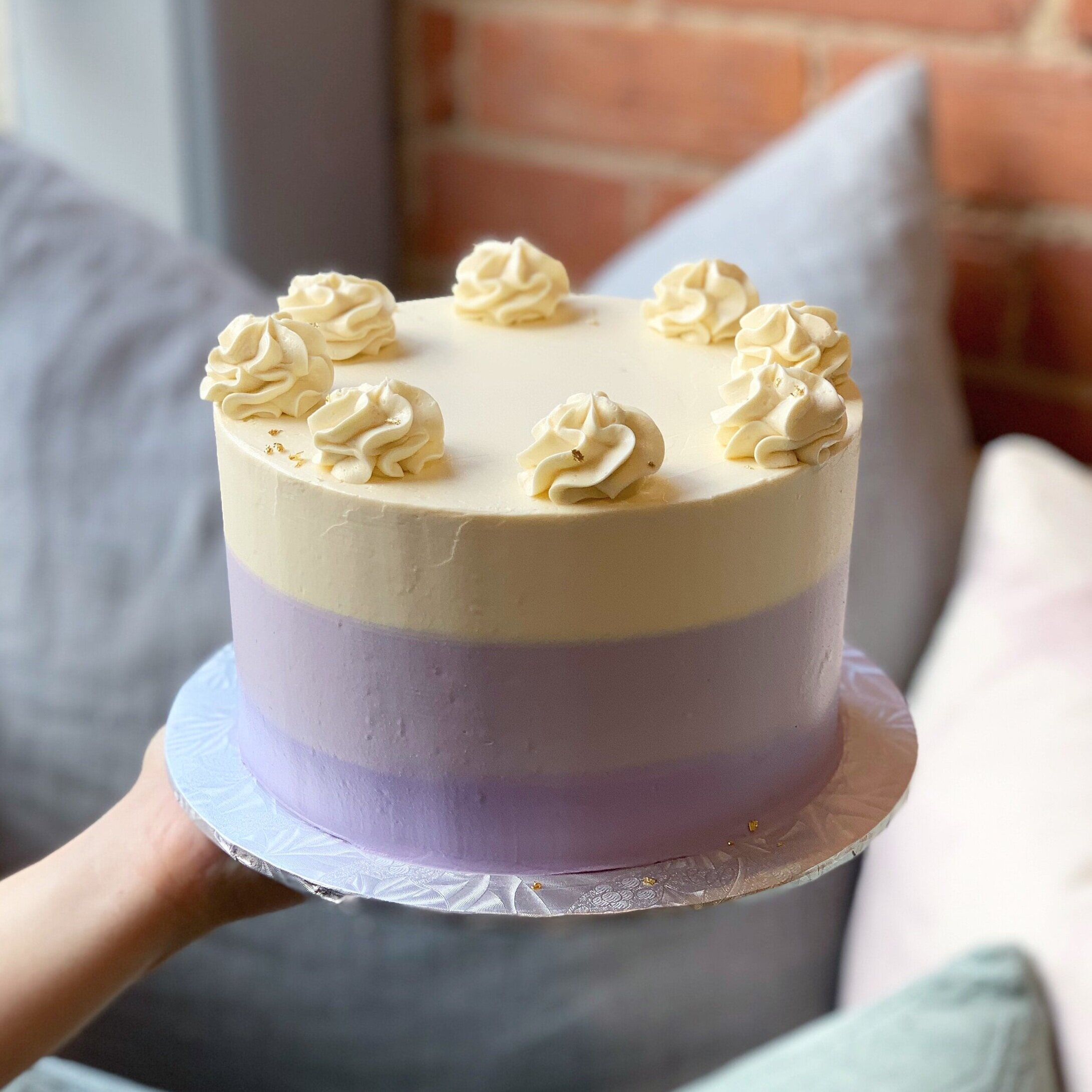 COLOURED OMBRE CAKE (GF/K/P)  Available Colours: Purple, Pink, Blue, Mint Green, Orange Flavours: Chocolate or Vanilla cake with vanilla frosting only