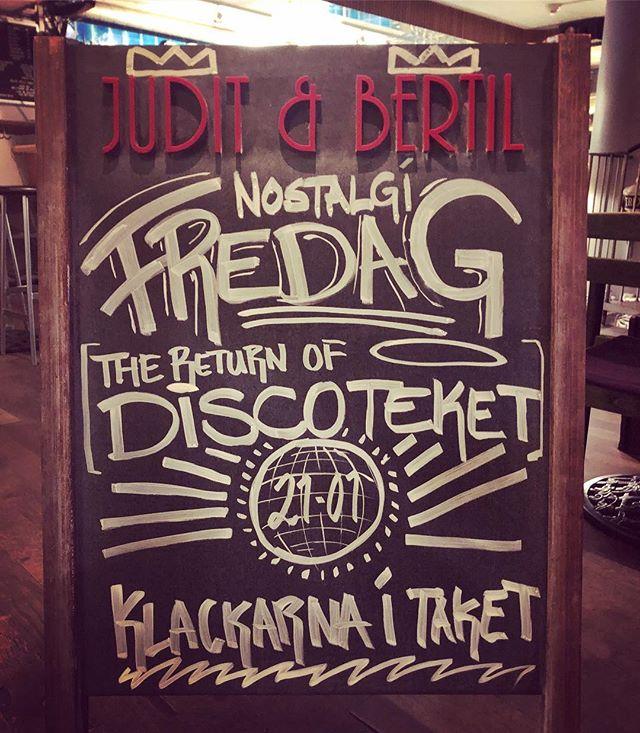 Fredag innan lördag! Diskoteket tillbaka på plats från 21-01 utlovas riktigt bra gung! 🔊🔊🔊#juditbertil #juditochbertil #hiphop #hornstull #cocktails