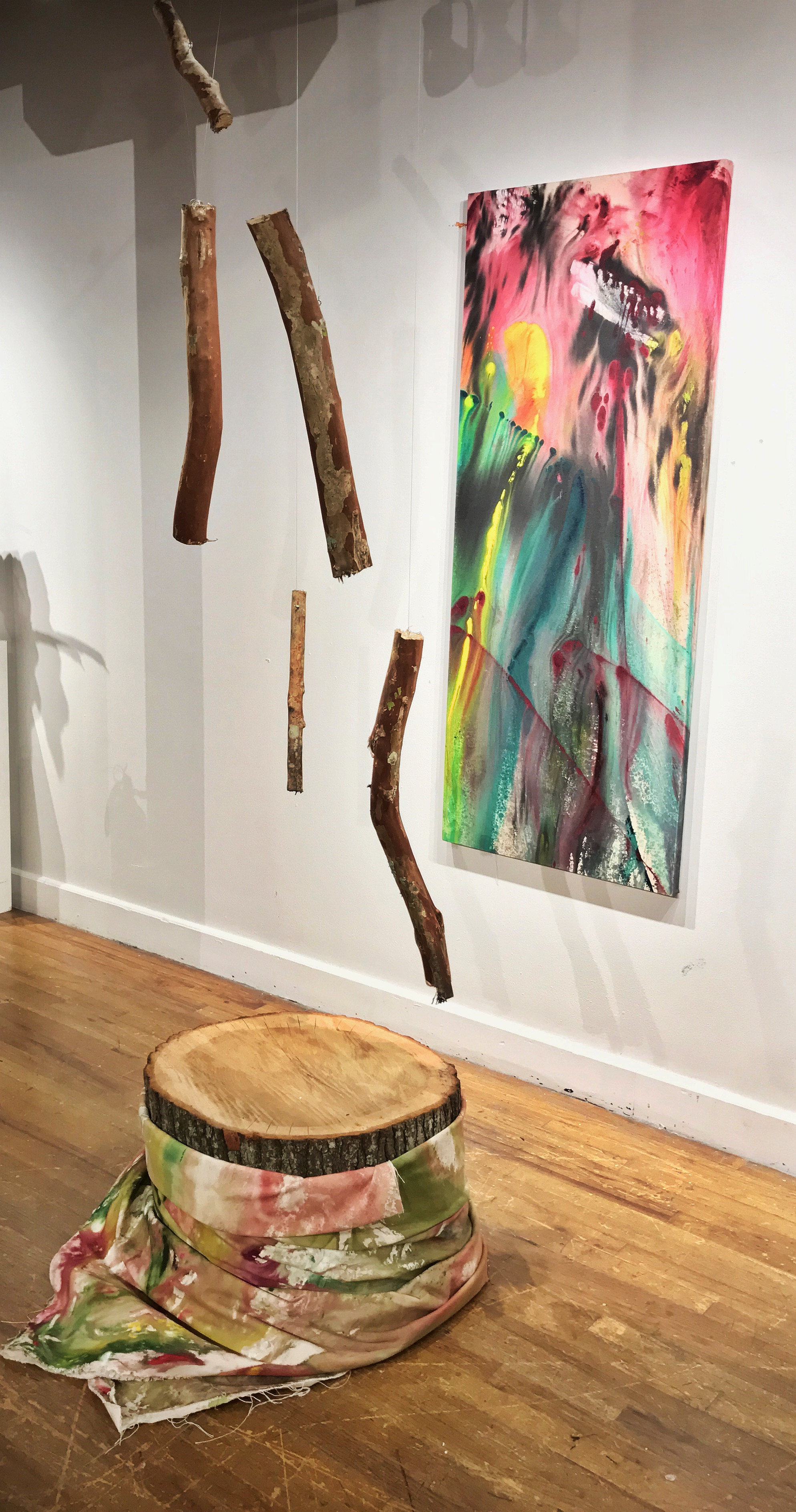 Side View:  Vacant Window , 2016, Acrylic paint, branches, braid, canvas, stretched canvas, live oak stump, 8x4'.