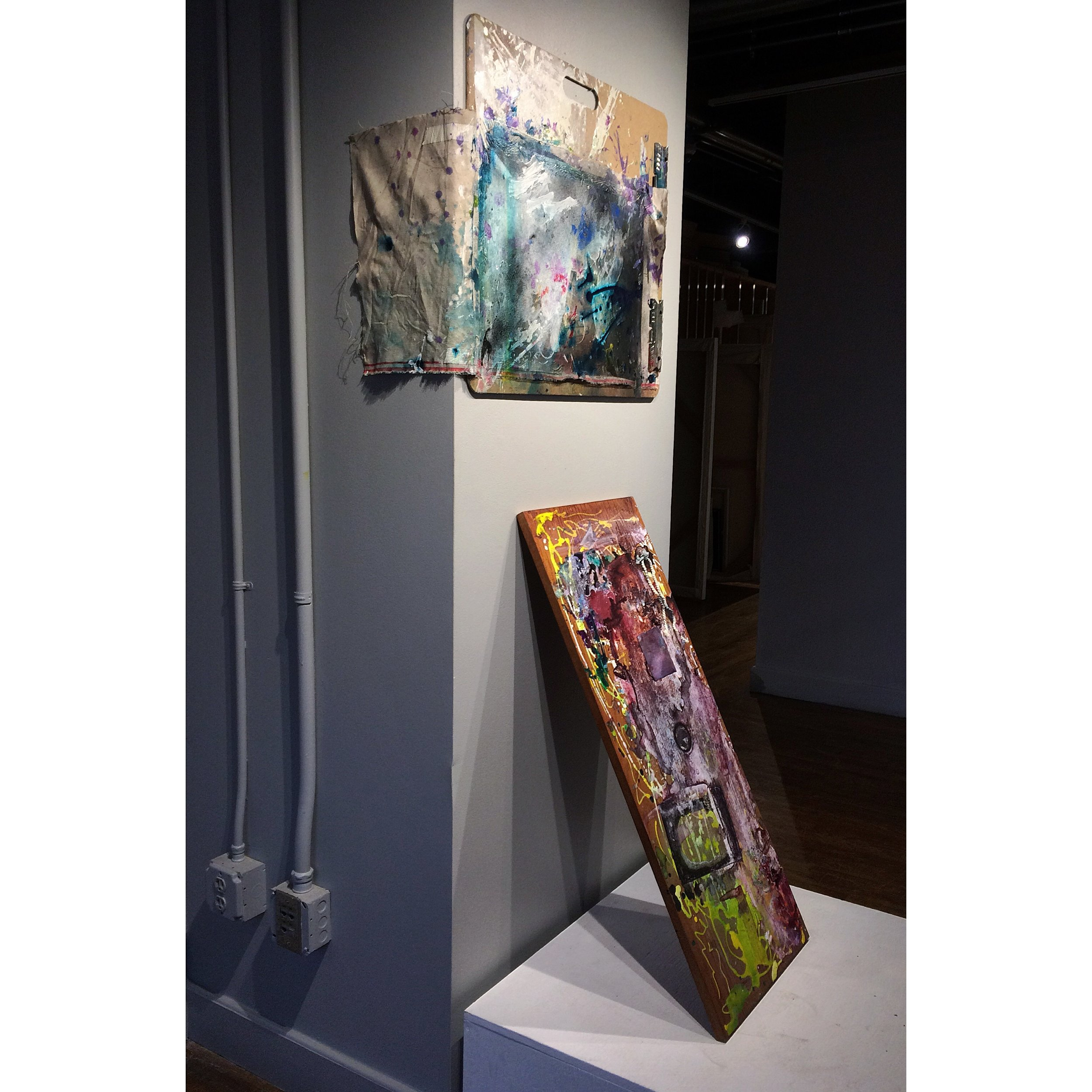Side View:  Studio Space,  2016, Art Board, Belgian linen, ink, gesso, tape, staples, acrylic paint, watercolor, charcoal, pastel, wooden shelf, chamois cloth, glue, glitter, 8x3'