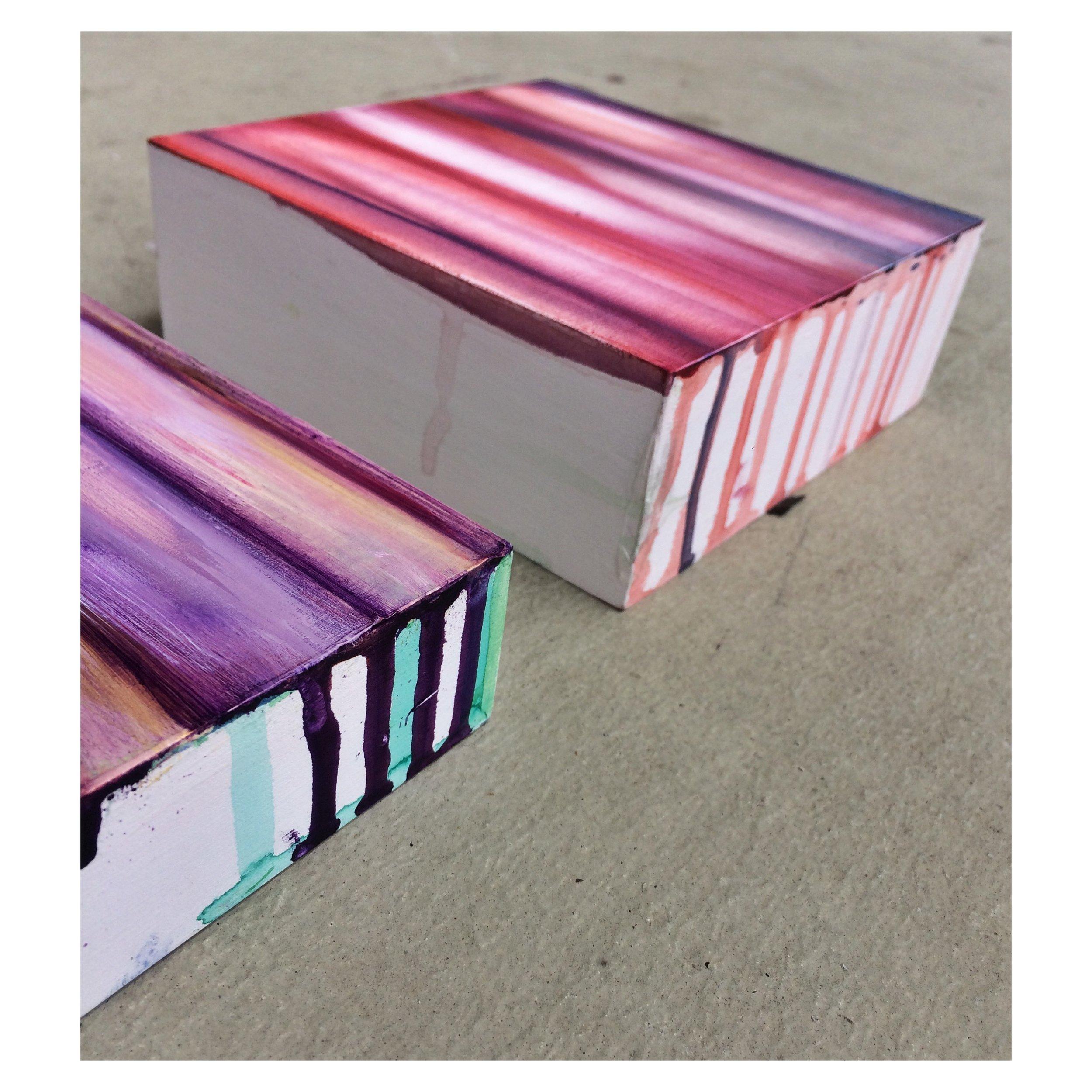 "Transparency (detail), 2018, Set of 3, Wood panel, watercolor paint, acrylic paint, 6x6"""