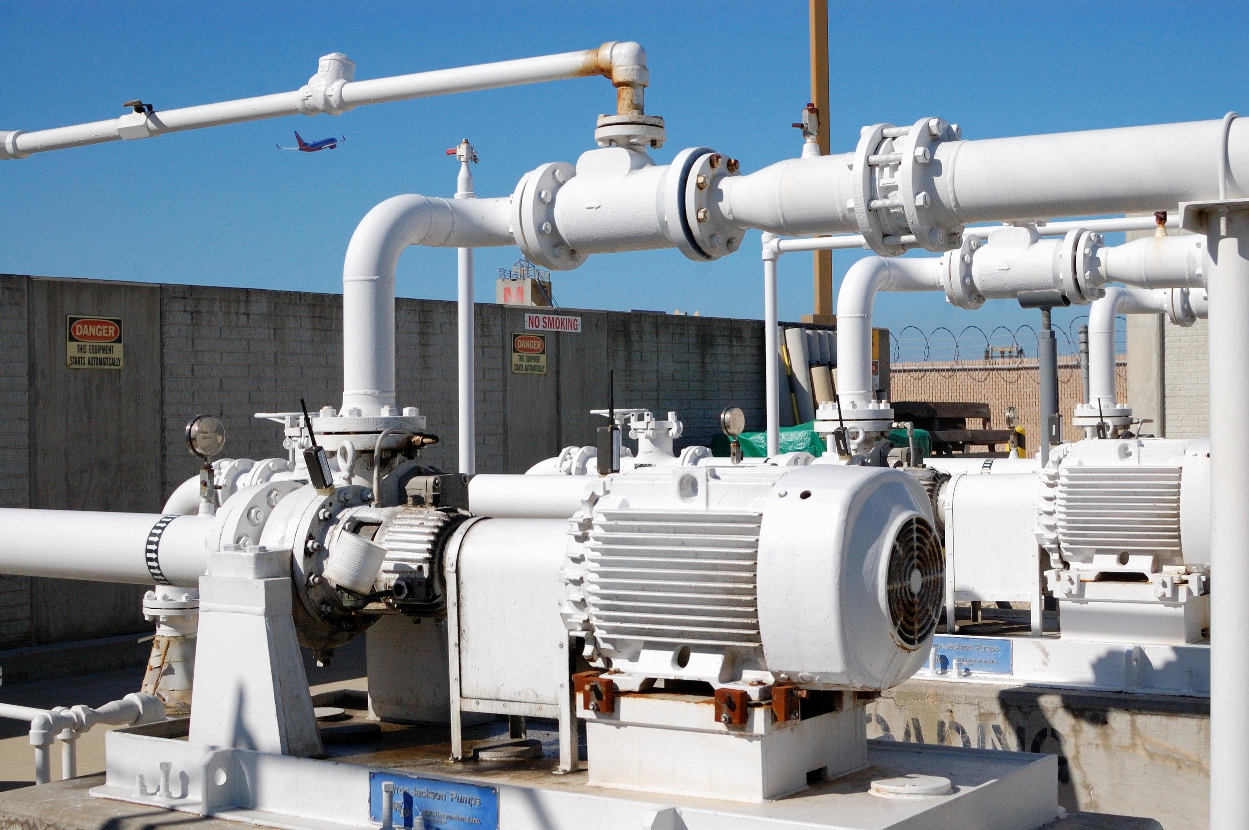 SmartHAWK wireless vibration and temperature sensors monitoring fuel pumps at a major California airport.