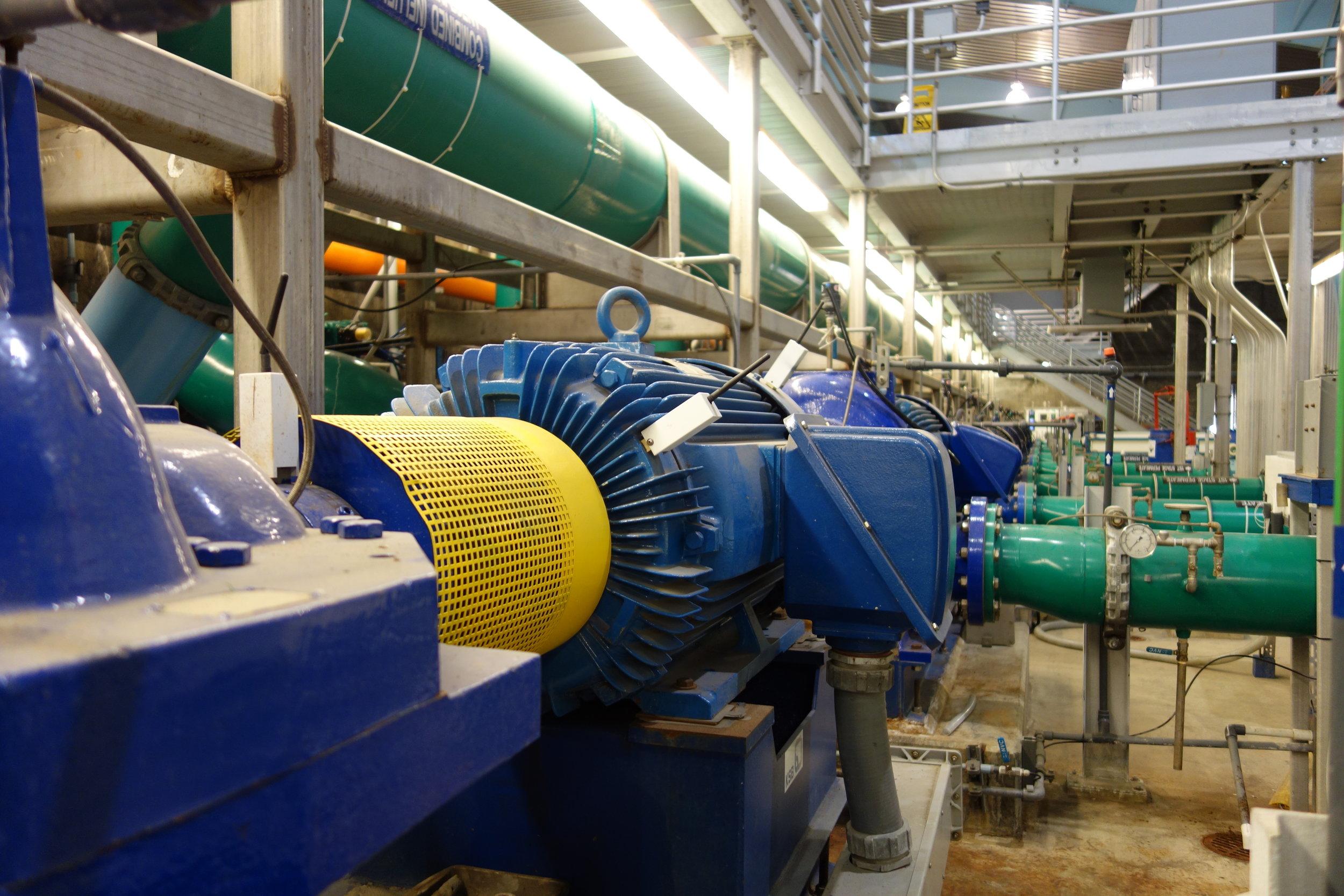 SmartHAWK wireless vibration and temperature sensors monitoring motors at a water treatment plant.