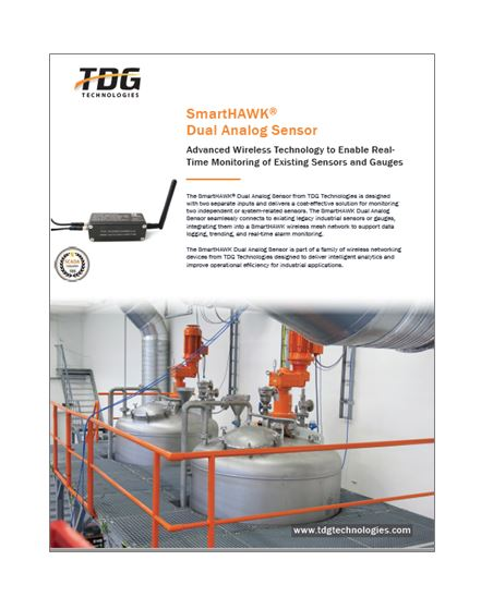 The SmartHAWK Dual Analog Sensor provides a cost-effective solution for monitoring existing legacy sensors or gauges via two separate input connections.
