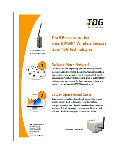 The SmartHAWK Wireless Monitoring Solution from TDG Technologies offers a number of unique benefits which help improve operational efficiency in industrial environments.